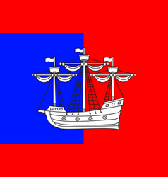 Flag of dieppe in seine-maritime of normandy is a vector