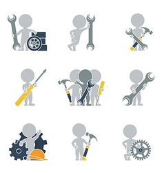 Flat people mechanics vector image