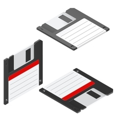 Floppy disc isometric icon set vector