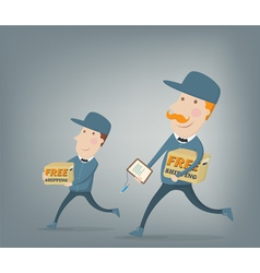 Free shipping Two couriers delivering packages vector