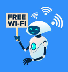 free wi-fi zone robot distributing wi-fi vector image