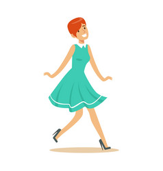 girl in blue dress overwhelmed with happiness and vector image