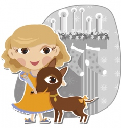 Girl with a dog pet vector