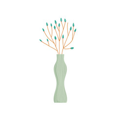 glass vase flowers decoration ornament icon vector image