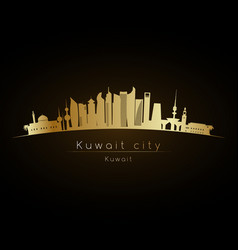 Golden logo kuwait city skyline silhouette vector