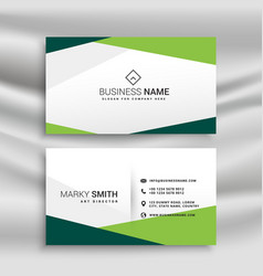 Green and white business card with abstract vector