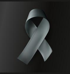 grey ribbon on black background vector image