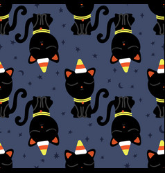 halloween seamless pattern with cute black cat vector image