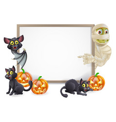 halloween sign with mummy and bat vector image