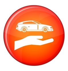 Hand and car icon flat style vector image
