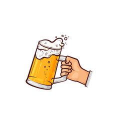 hand-drawn hand holding mug of beer ale cider vector image