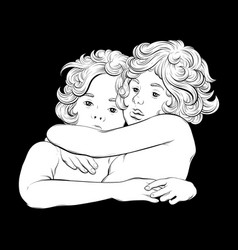 hand drawn hugging cupids vector image