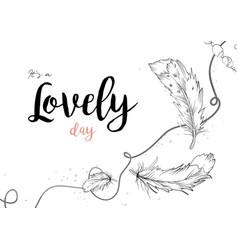 hand drawn postcard design birds feathers vector image