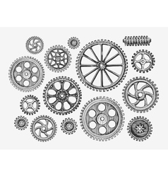 Hand-drawn vintage gears cogwheel Sketch vector