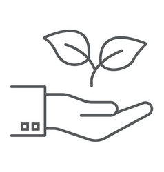 hand with plant thin line icon ecology and energy vector image