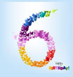 Happy birthday six years postcard vector