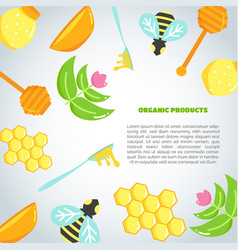 honey background with flat honey elements poster vector image