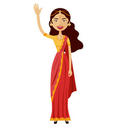 Indian woman waving her hand flat cartoon vector