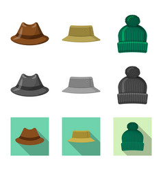 Isolated object of headgear and cap sign set of vector