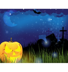 Jack o lantern on a cemetery vector image