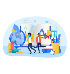 learning or education concept with students vector image