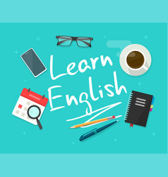 learning study english language working desk table vector image