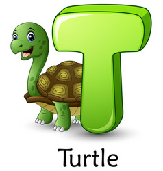 Letter t is for turtle cartoon alphabet vector