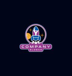 Letter y rocket logo design vector