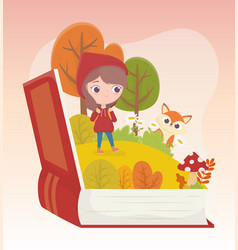 little red riding hood wolf forest grass book vector image