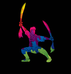 Man with swords action kung fu pose vector