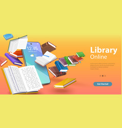 mobile library reading books online distance vector image