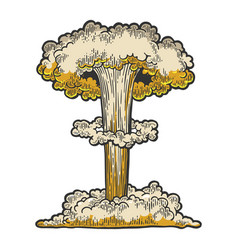 Nuclear bomb explosion line art sketch vector