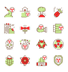 nuclear color linear icon set editable stroke vector image