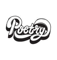 poetry handwritten lettering made in modern style vector image