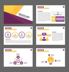 Purple yellow presentation templates Infographic vector image