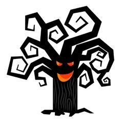 Scary halloween tree isolated on white vector image