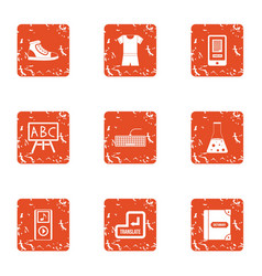 Schoolwork icons set grunge style vector