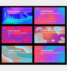 set bright colorful backgrounds with shapes vector image