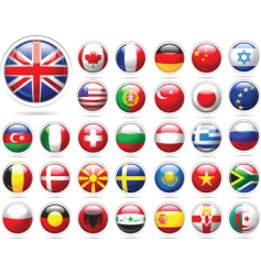 Set flags glossy buttons vector