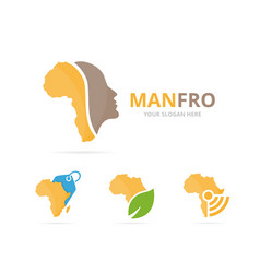 Set of africa logo combination safari and people vector