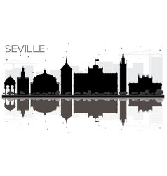 seville city skyline black and white silhouette vector image