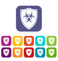Shield with a biohazard sign icons set vector