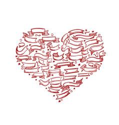 sketch hand drawn ribbon heart vector image