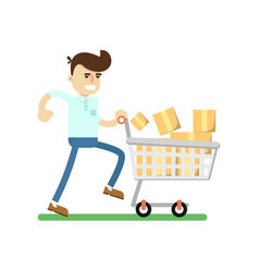 smiling man with shopping cart icon vector image
