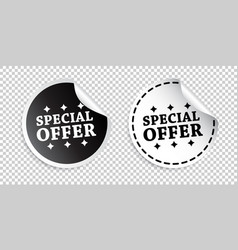 special offer sticker black and white vector image
