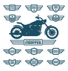 Sport motorbike silhouette and vintage wing labels vector