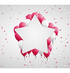 Star badge and red balloons vector
