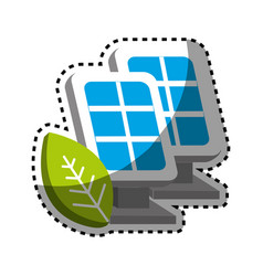 Sticker solar energy eco icon vector