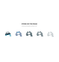 Stone on road icon in different style two vector