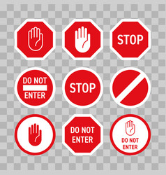 Stop road sign hand no enter gesture vector